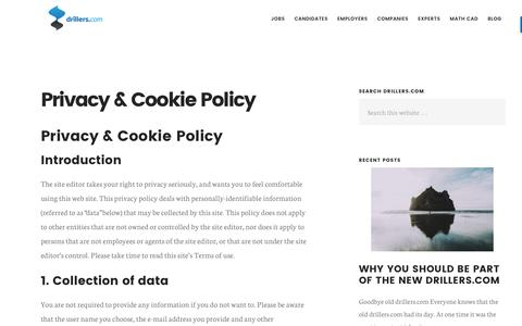 Screenshot of Privacy Page drillers.com - Privacy & Cookie Policy - Drillers - captured Nov. 24, 2016