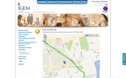 Screenshot of Maps & Directions Page igem.org.uk - IGEM, gas safety, industry, gas, promoting gas safety in the home and industry - Map - captured Sept. 19, 2014