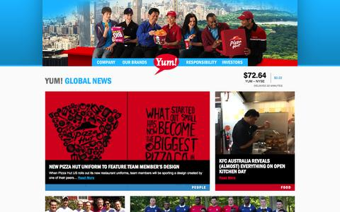 Screenshot of Home Page yum.com - Yum! Brands - Defining Global Company that Feeds the World - captured Sept. 19, 2014