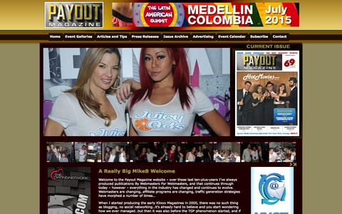 Screenshot of Home Page payoutmag.com - Payout Adult Industry Magazine - captured Jan. 28, 2015
