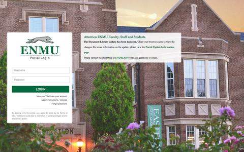 Screenshot of Login Page enmu.edu - MyENMU Secure Login - captured Oct. 19, 2016