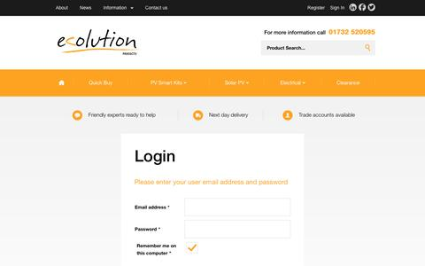 Screenshot of Login Page ecolutionproducts.com - Login | Ecolution Products Limited | Ecolution Products - captured July 11, 2016