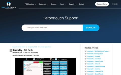 Screenshot of Support Page harbortouch.com - Hospitality - Gift Cards : Harbortouch Support Center - captured Oct. 9, 2018