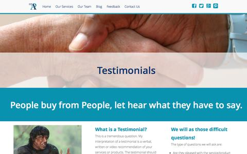 Screenshot of Testimonials Page mypavirtualservices.com - Secretarial Services and Admin Support, services offered by our Virtual PA - captured June 14, 2017