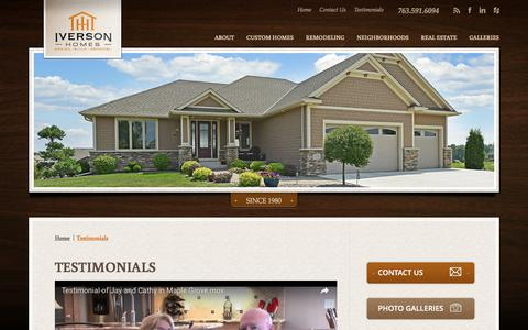 Screenshot of Testimonials Page iversonhomes.com - Testimonials – Iverson Homes Reviews, Customer Reviews of Iverson Homes, Recommended Mn Remodelers and Builders - captured Aug. 6, 2016