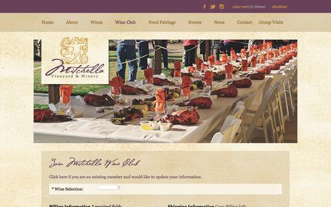 Screenshot of Signup Page mitchella.com - Mitchella Vineyard & Winery - Join Mitchella Wine Club - captured Nov. 14, 2017