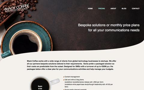 Screenshot of Pricing Page blackcoffeepr.co.uk - Pricing – Black Coffee PR - captured July 10, 2018