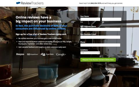 Screenshot of Landing Page reviewtrackers.com - Start your free trial today! - captured Oct. 27, 2014