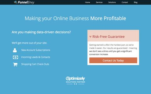 Screenshot of Services Page funnelenvy.com - Conversion Rate Optimization Services - FunnelEnvy - captured Oct. 29, 2014