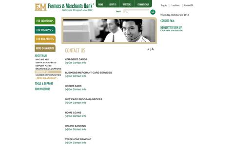 Screenshot of Contact Page Support Page fmb.com - About Farmers & Merchants Bank: Contact Us - captured Oct. 23, 2014