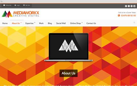 Screenshot of About Page mediaworkx.co.uk - MediaWorkx - Your Digital Agency in Coventry - captured Oct. 27, 2014