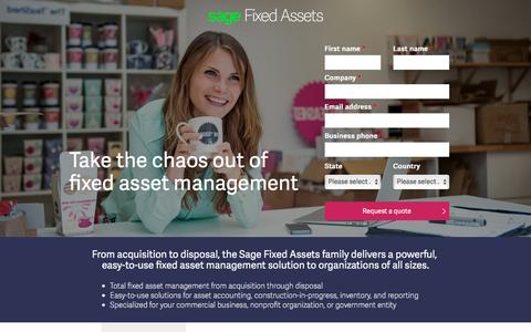 Screenshot of Landing Page sage.com - Sage North America - captured March 27, 2017