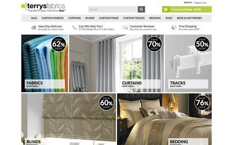 Screenshot of Home Page terrysfabrics.co.uk - Terrys Fabrics UK | Fabric, Blinds, Curtains, Beds & More! - captured Jan. 11, 2016