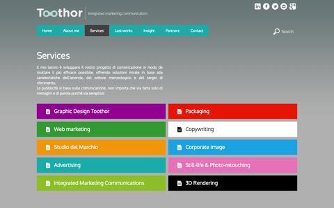 Screenshot of Services Page toothor.com - servizi di comunicazione aziendale - captured Oct. 7, 2014