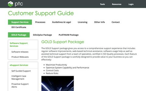 Screenshot of Support Page ptc.com - GOLD Package | PTC - captured Nov. 13, 2018