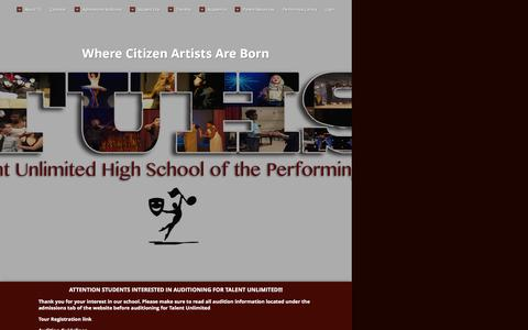 Screenshot of Home Page tuhsnyc.com - Home Page - Where Citizen Artists Are Born - captured Oct. 14, 2015