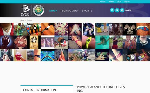 Screenshot of Contact Page powerbalance.com - Contact - captured July 15, 2016