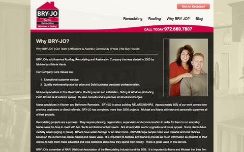 Screenshot of About Page bryjo.com - Why Bry-Jo Is The Best For Home Remodeling Near Dallas, Plano and Richardson - captured Oct. 4, 2014
