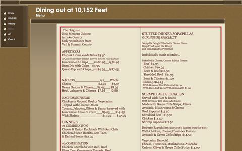 Screenshot of Menu Page grillbarcafe.com - Sample Menu - captured March 3, 2016