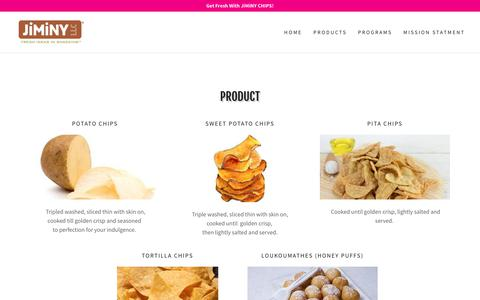 Screenshot of Products Page jiminychips.com - PRODUCTS | Jiminy LLC - captured Dec. 10, 2018