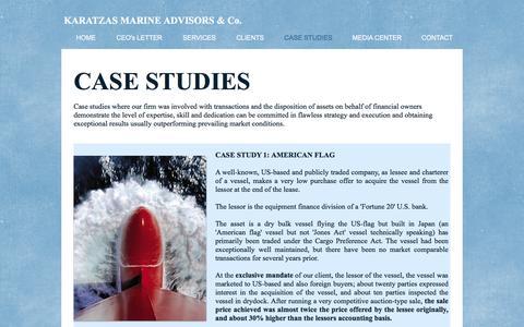 Screenshot of Case Studies Page karatzas.com - Karatzas Marine Advisors & Co. - Case Studies - captured Nov. 27, 2016