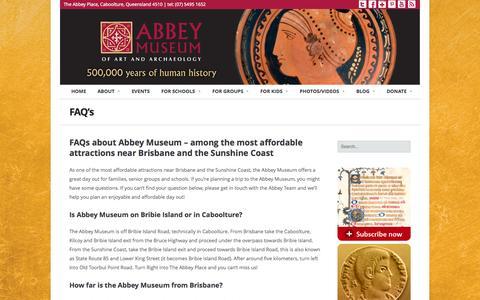 Screenshot of FAQ Page abbeymuseum.com.au - FAQ's | Abbey Museum - captured Oct. 9, 2014