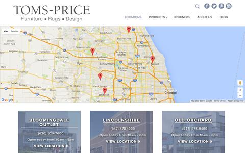 Screenshot of Locations Page tomsprice.com - Locations | Toms-Price - captured Feb. 27, 2016