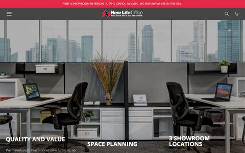 Screenshot of Home Page newlifeoffice.com - New and Used Office Furniture | New Life Office - captured Sept. 20, 2018