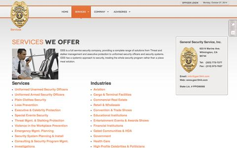 Screenshot of Services Page gss1944.com - Security Services Offered - General Security Service, Inc. - captured Oct. 27, 2014