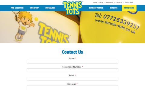 Screenshot of Contact Page tennis-tots.co.uk - Contact us for Tennis for Toddlers & Children - captured Sept. 20, 2018