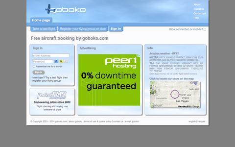 Screenshot of Home Page goboko.com - Free aircraft booking | goboko.com | home page - captured Oct. 3, 2014