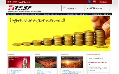 Screenshot of Home Page nlfplc.com - Welcome to Nation Lanka Finance - captured Oct. 7, 2014