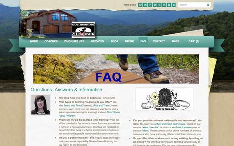 Screenshot of FAQ Page situpnlisten.com - FAQ - Sit Up N Listen Dog Training - captured Oct. 9, 2014
