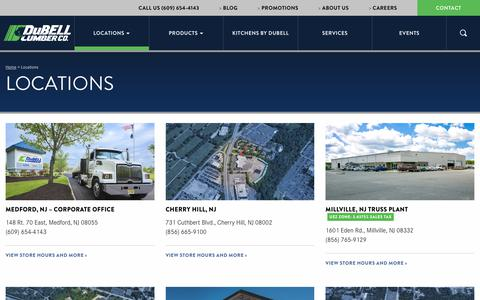 Screenshot of Locations Page dubell.com - Find the Convenient DuBell Lumber Location Nearest You - captured Oct. 13, 2017
