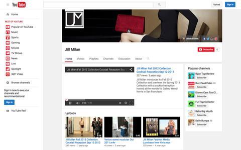 Screenshot of YouTube Page youtube.com - Jill Milan  - YouTube - captured Nov. 23, 2015