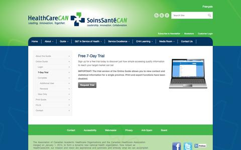 Screenshot of Trial Page healthcarecan.ca - HealthCareCAN |   7-Day Trial - captured Sept. 29, 2014