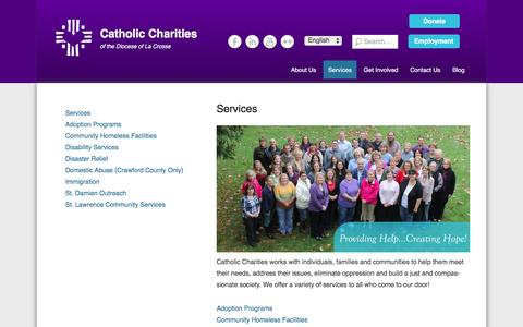 Screenshot of Services Page cclse.org - Services | Catholic Charities - captured Jan. 26, 2016
