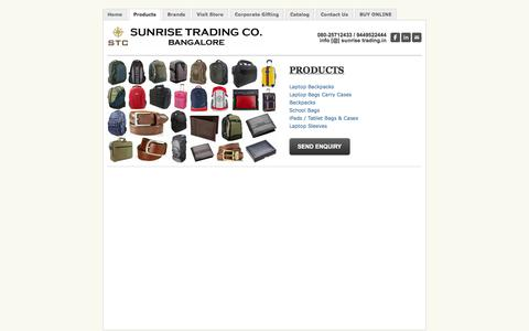 Screenshot of Products Page sunrisetrading.in - Laptop Backpacks, Laptop Bags, Laptop Carry Cases, Luggage Sets, School Bags, Backpacks, Laptop Sleeves, iPad Cases, iPad Bags, Leather Wallets - Sunrise Trading Co. Bangalore - captured Oct. 8, 2014