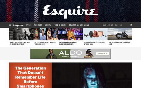 Screenshot of Home Page esquire.com - Esquire - Men's Fashion, Cocktails, Politics, Interviews, and Women - captured Dec. 1, 2015