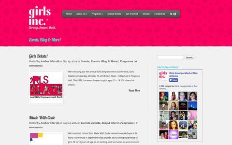 Screenshot of Blog girlsincsa.com - Events, Blog & More!   Girls Inc. of San Antonio - captured Oct. 2, 2014
