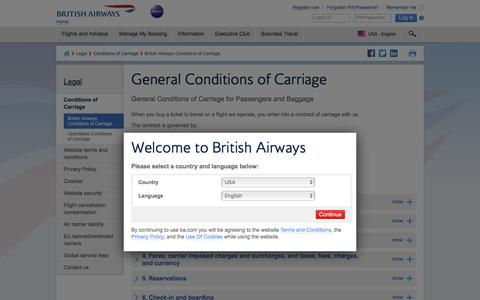 General Conditions of Carriage | Legal | British Airways