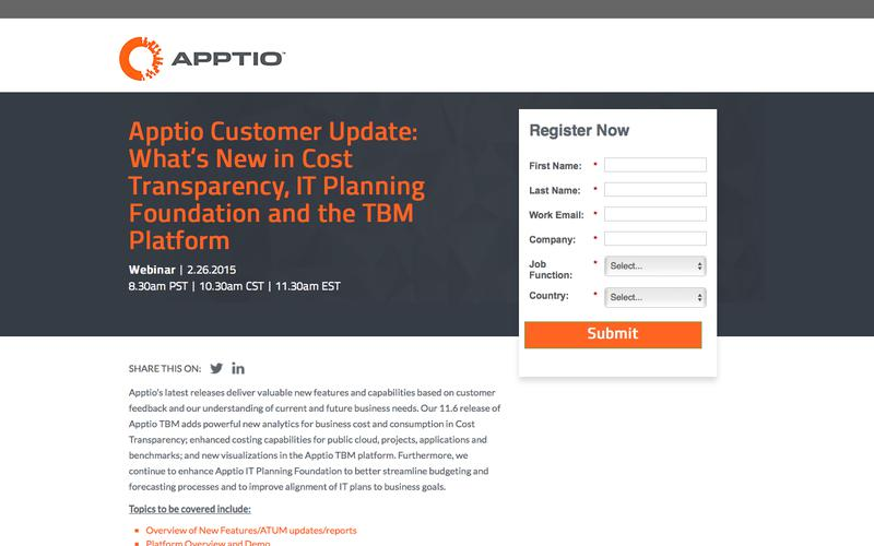 Webinar: Apptio Customer Update: What's New in Cost Transparency, IT Planning Foundation and the TBM Platform