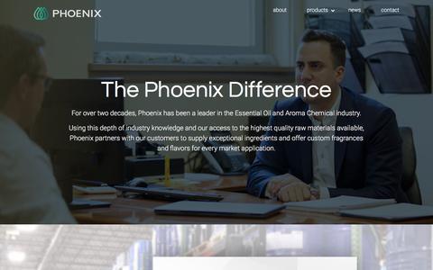 Screenshot of About Page phoenixaromas.com - Phoenix - About Us - captured Sept. 11, 2019
