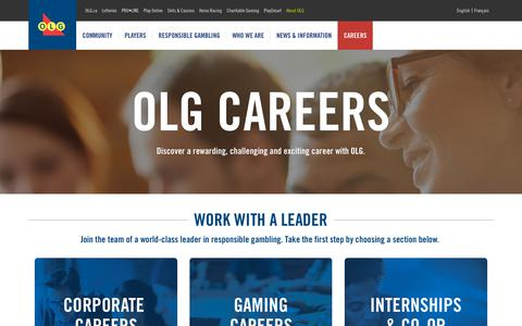 Screenshot of Jobs Page olg.ca - OLG Careers | About OLG - captured Sept. 21, 2018