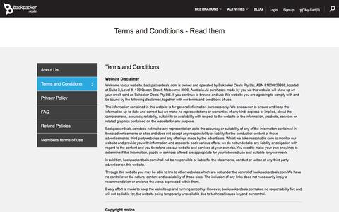 Screenshot of Terms Page backpackerdeals.com - Backpacker Deals - Terms and conditions - captured Feb. 7, 2016