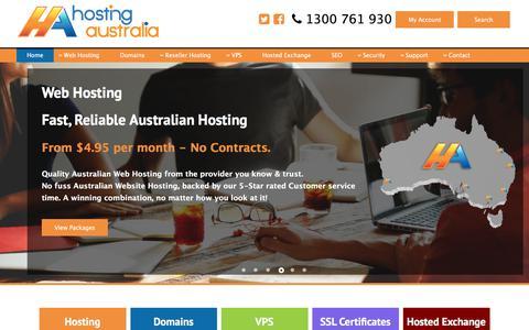 Screenshot of Home Page hosting-australia.com - Web Hosting Australia | Website Hosting in Australia - captured July 6, 2018