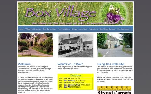 Screenshot of Home Page box-village.com - Box Village, Gloucestershire | Everything about living in or visiting Box Village, Gloucestershire - captured Oct. 10, 2015