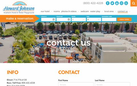 Screenshot of Contact Page hojoanaheim.com - Contact Us Today | Howard Johnson Anaheim Hotel - captured Sept. 30, 2018