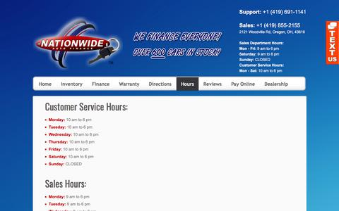 Screenshot of Hours Page nationwidetoledo.com - Welcome to Nationwide Auto Finance LLC | hours of operation - captured June 28, 2017