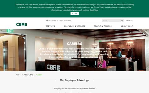 Screenshot of Jobs Page cbre.com - Our Employee Advantage | CBRE - captured Jan. 22, 2019